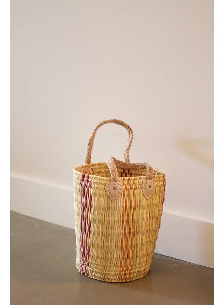 New Palm Round Basket- Medium- Stripe #5