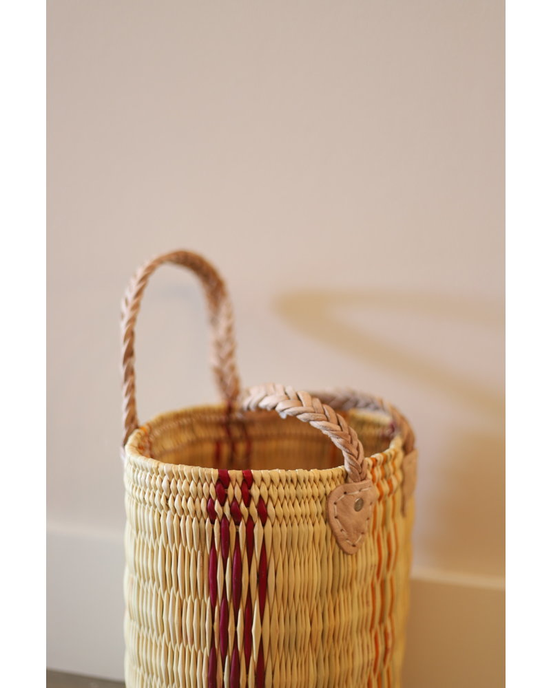 New Palm Round Basket- Medium- Stripe #5