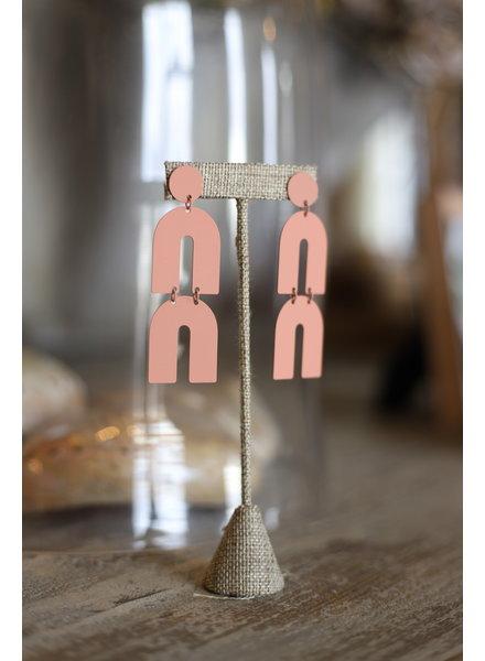 Double Arch Earrings- Dusty Pink