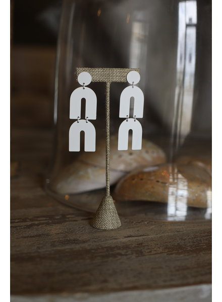 Double Arch Earrings- White