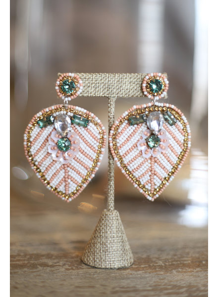 Blush Beaded Leaf Earrings