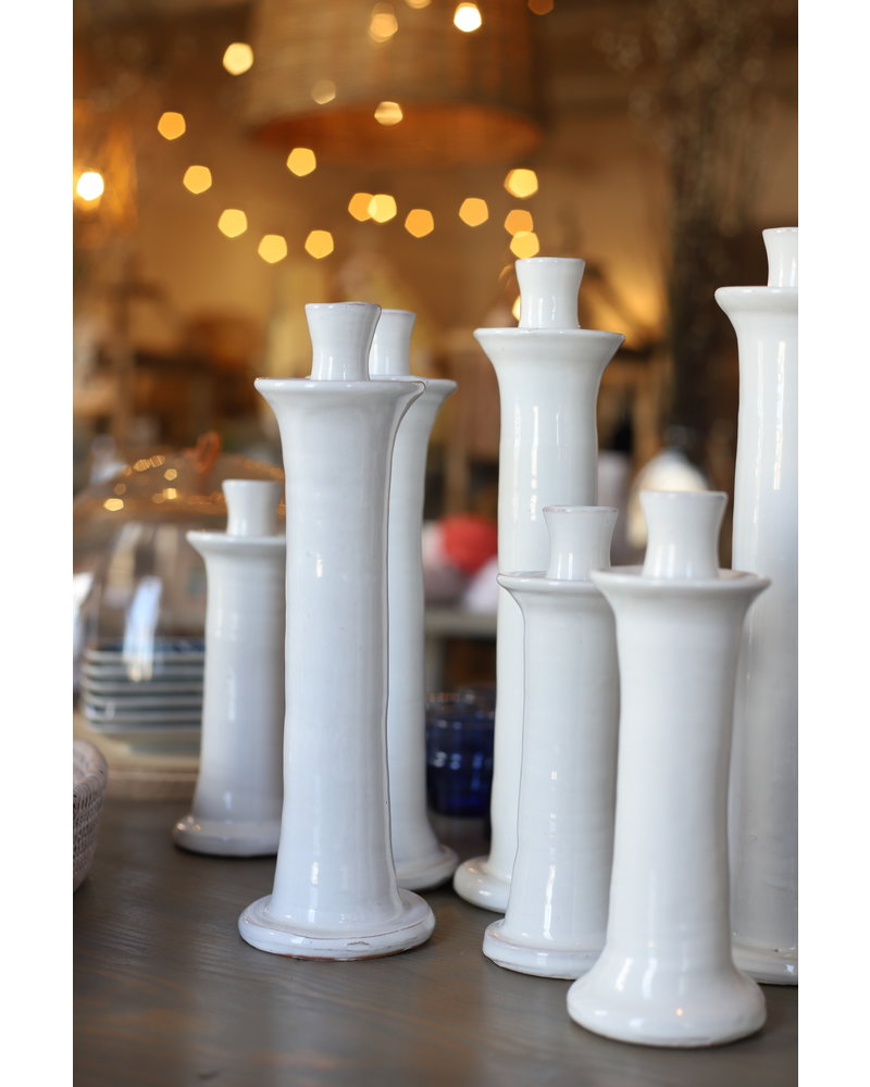 White Hand-thrown Candlestick