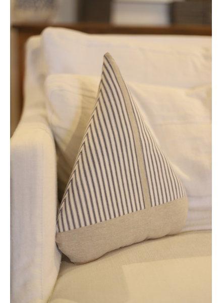 Blue Ticking Sailboat Pillow