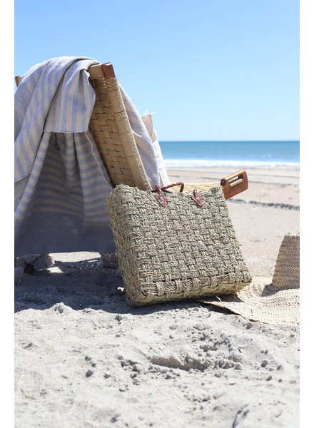 Seagrass Tote with Leather Handle
