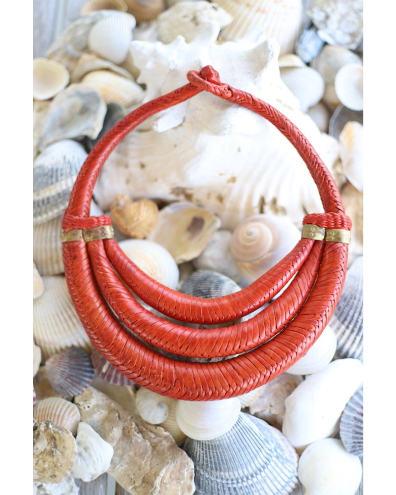 Braided Collar- Three Strands- Orange