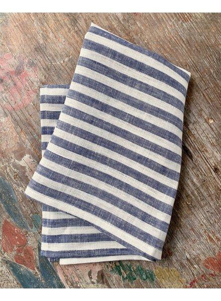 Linen Kitchen Cloth- Blue + White Stripe