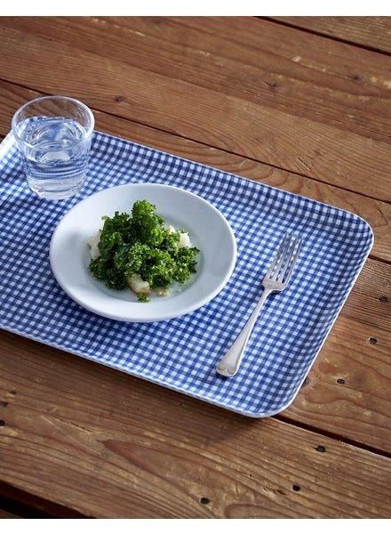 Blue & White Check Linen Coated Tray- Large