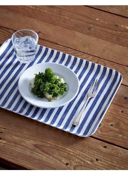 Blue & White Stripe Linen Coated Tray- Large