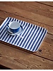 Blue & White Stripe Linen Coated Tray- Medium