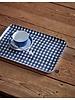 Navy & White Check Linen Coated Tray- Medium
