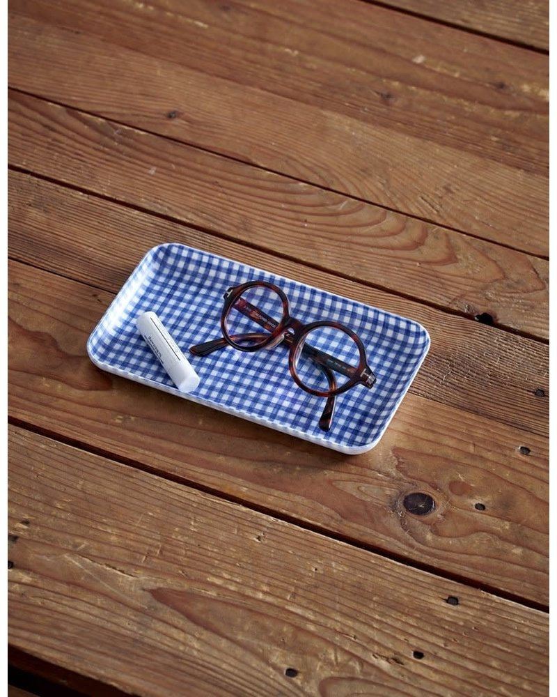 Blue & White Check Linen Coated Tray- Small