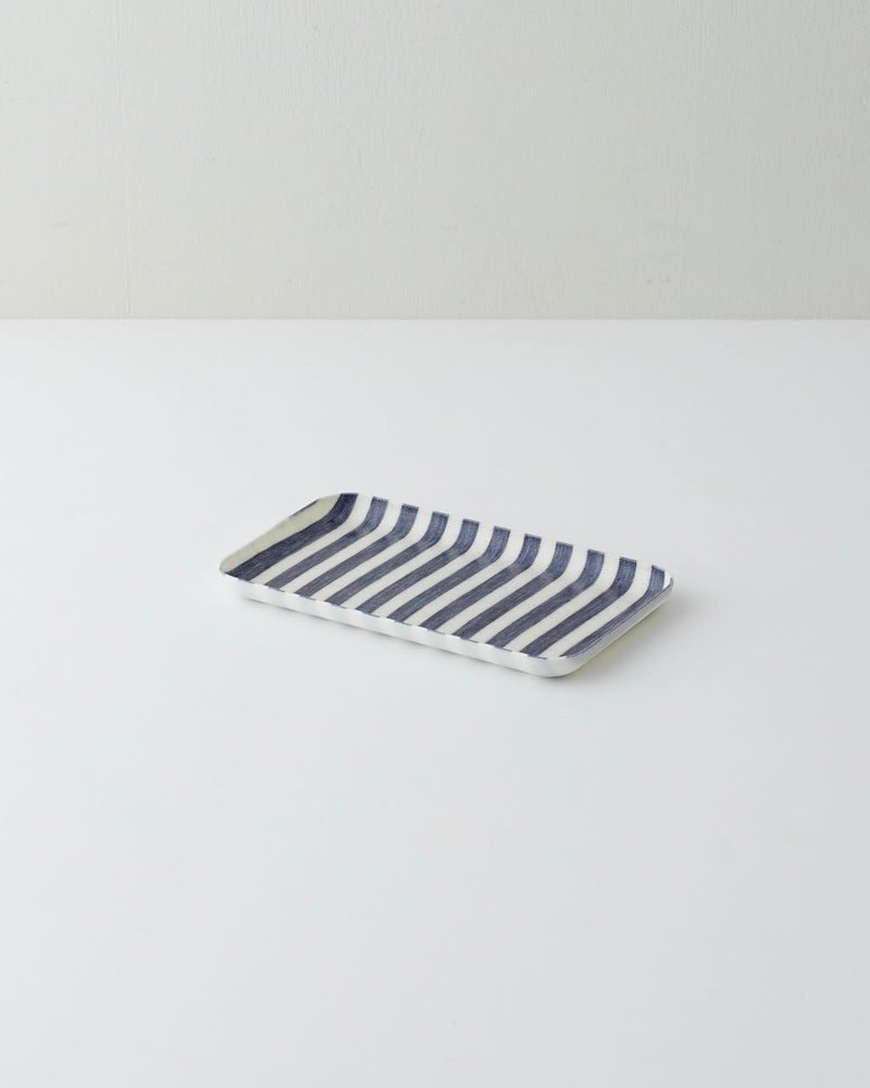Blue & White Stripe Linen Coated Tray- Small
