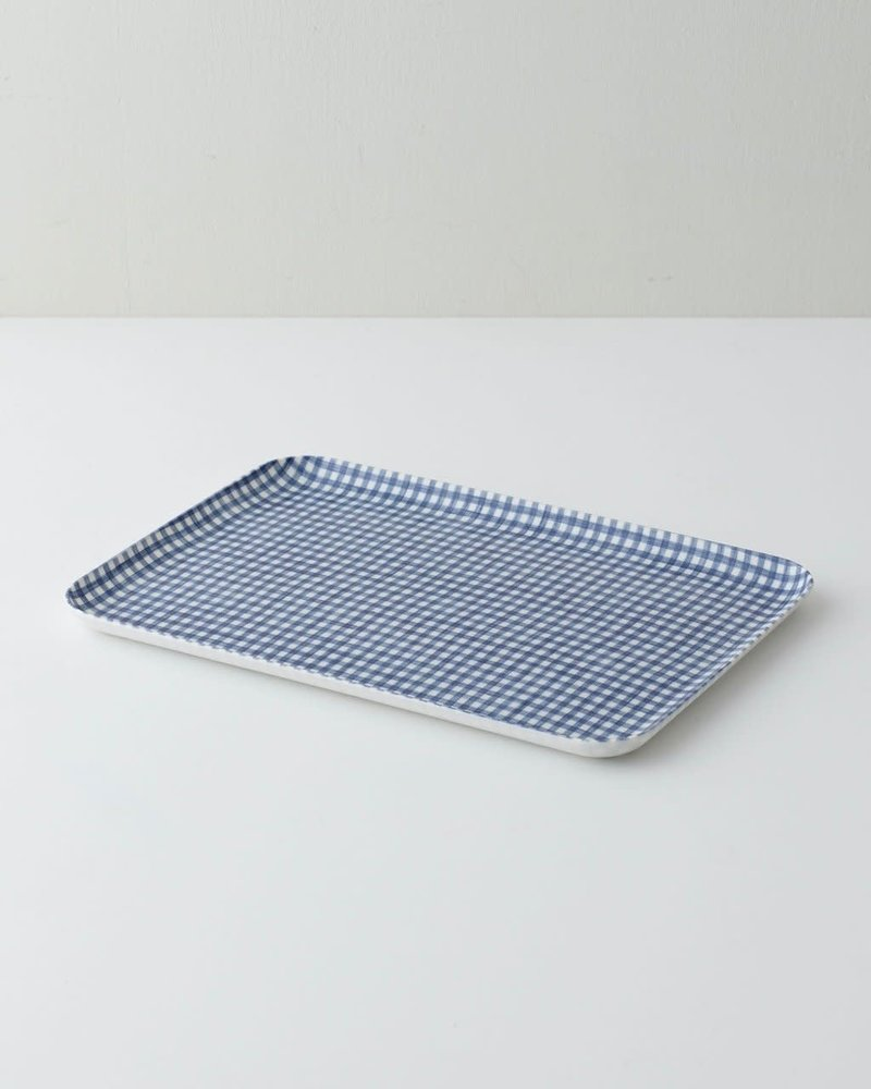 Blue & White Check Linen Coated Tray- Medium