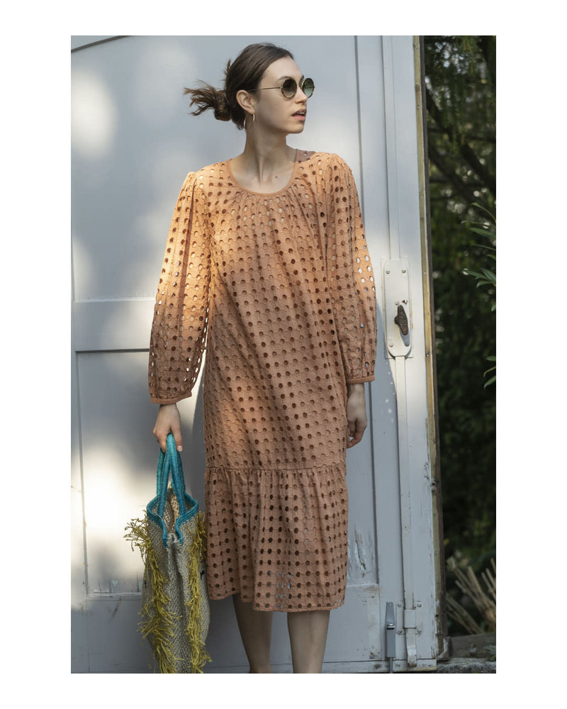 Croche Shiffli Dress- Terracotta