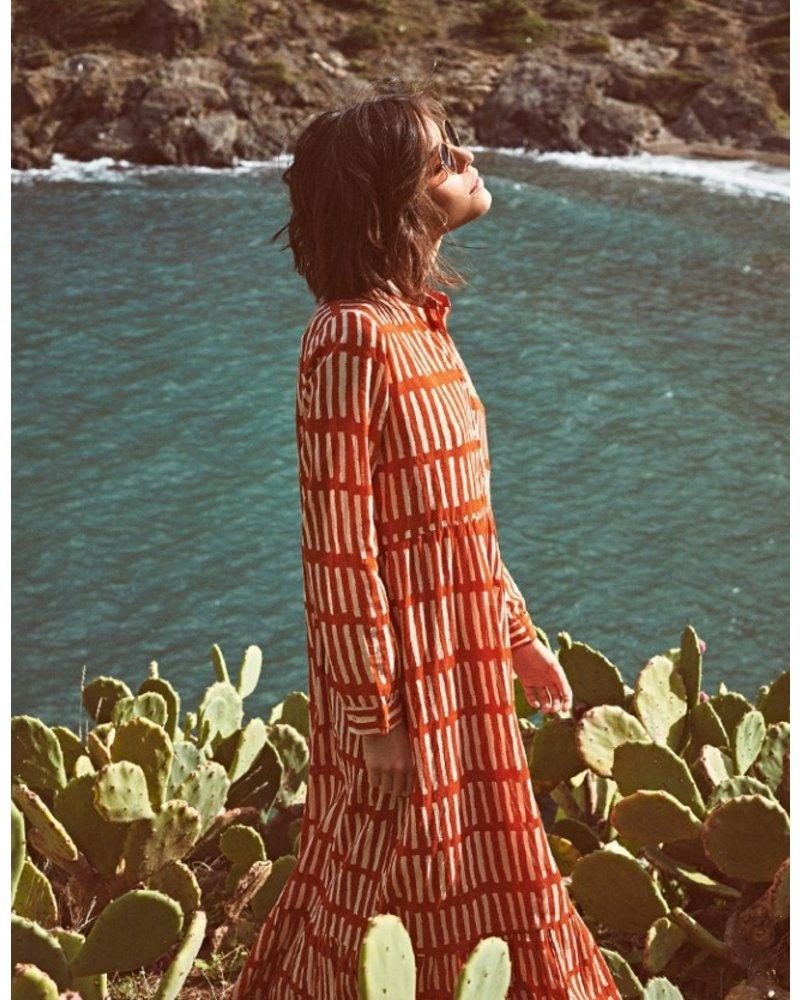 Riad Striped Long Dress- Orange