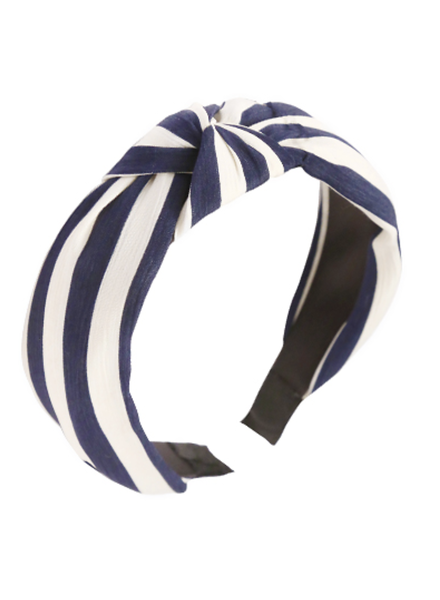 Stripe Knotted Headband- Navy