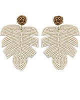 Beaded Tropical Leaf Earrings