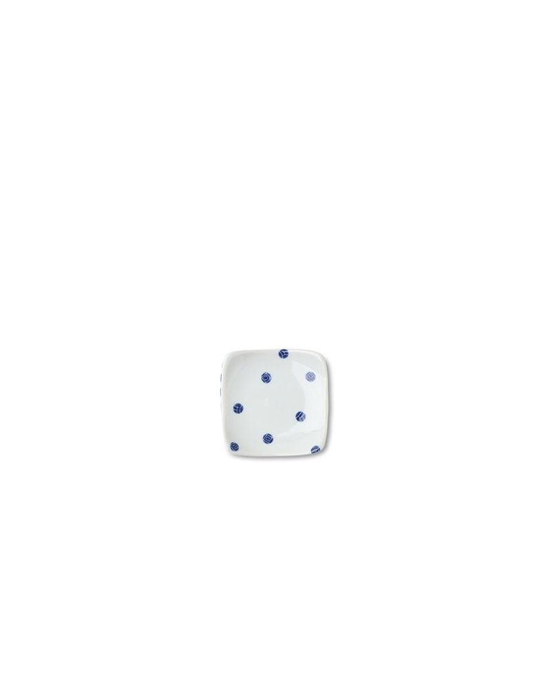 Plate Blue & White Dots 3.5""