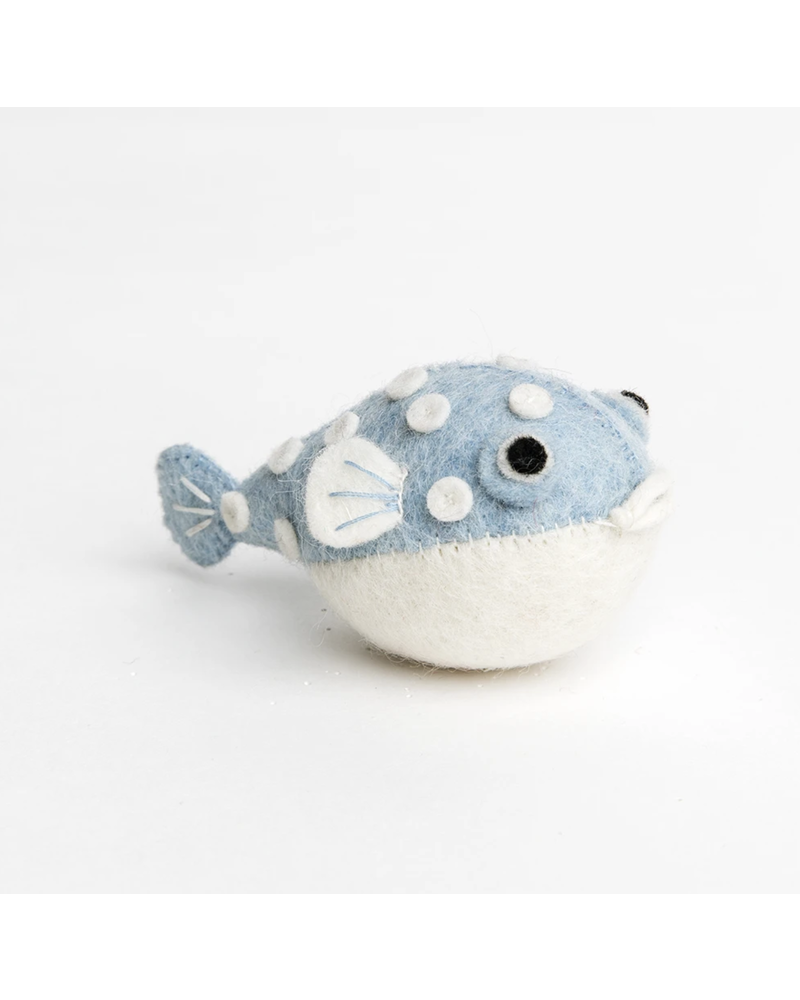 Big Puff Puffer Ornament- Blue