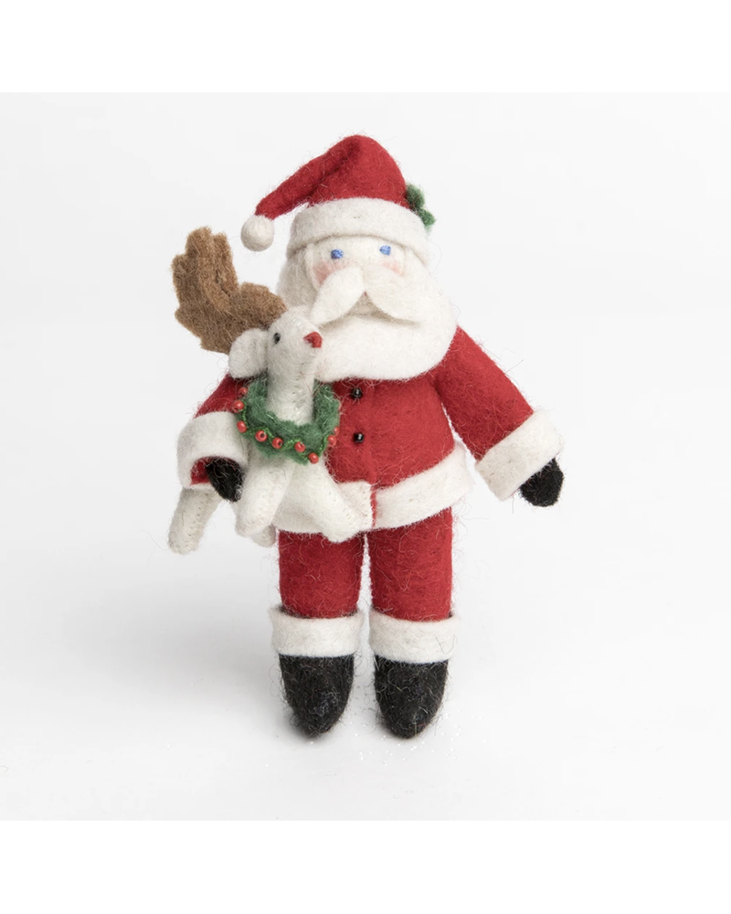 Santa with Rudolph Ornament