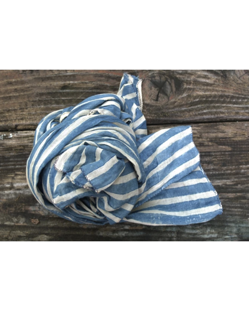 Wide Stripe Indigo Scarf