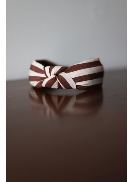 Stripe Knotted Headband- Brown