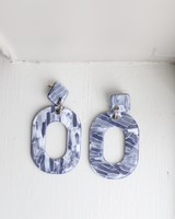 Blue Shell Oval Earrings