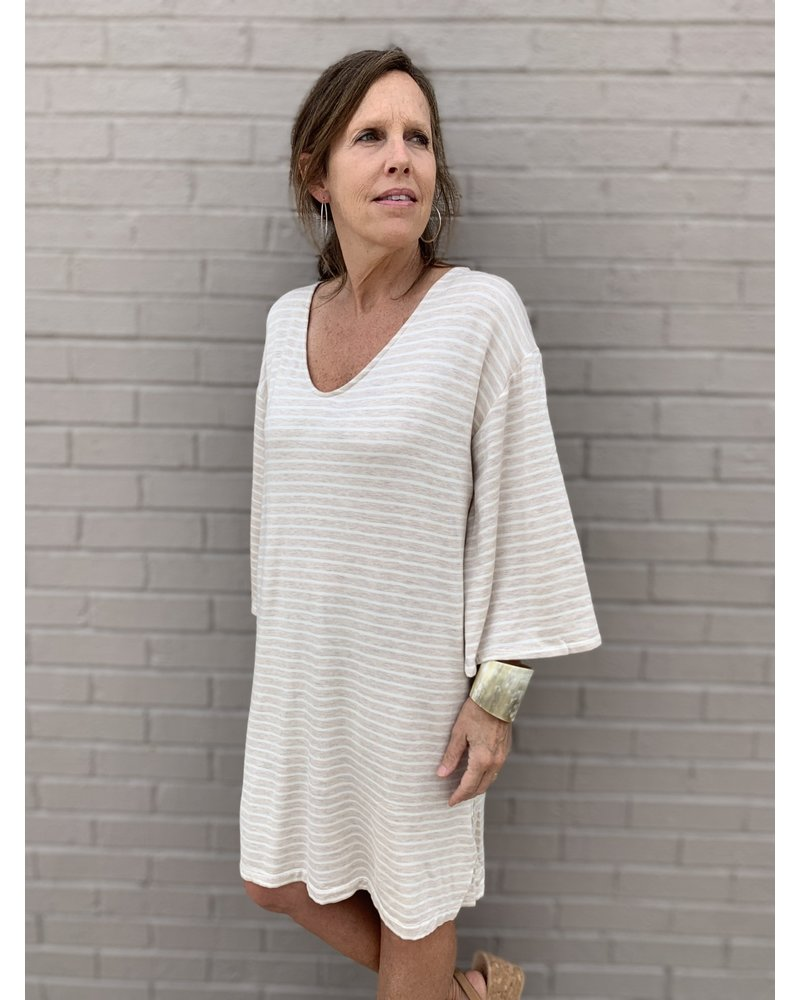 Montecito Mini Dress- Fleece Stripe Oatmeal