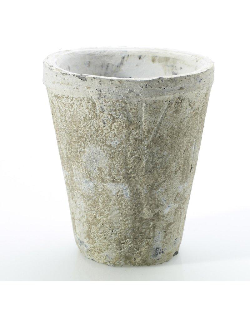 Antique White Concrete Pot- Small