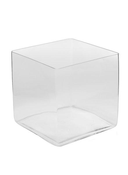 """Estate Glass Cube Planter 12"""""""