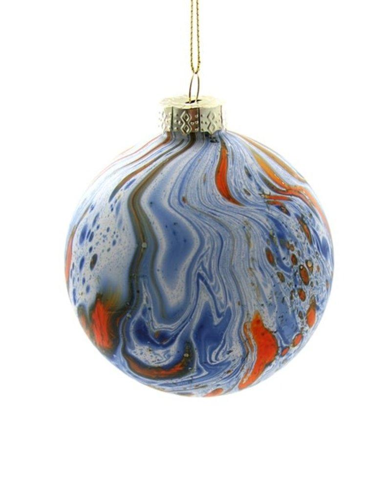 BLUE/ORANGE MARBLED Ornament