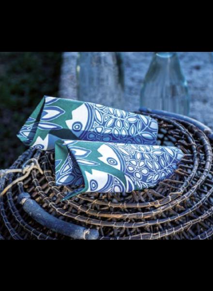 Blue/Vert Fish DINNER paper napkin pack