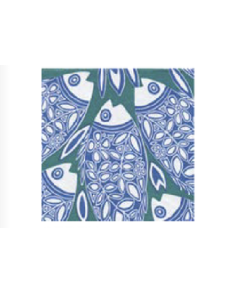 Blue/Vert Fish DINNER paper napkin pack