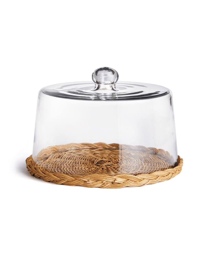 Wicker Base with Cloche- Large
