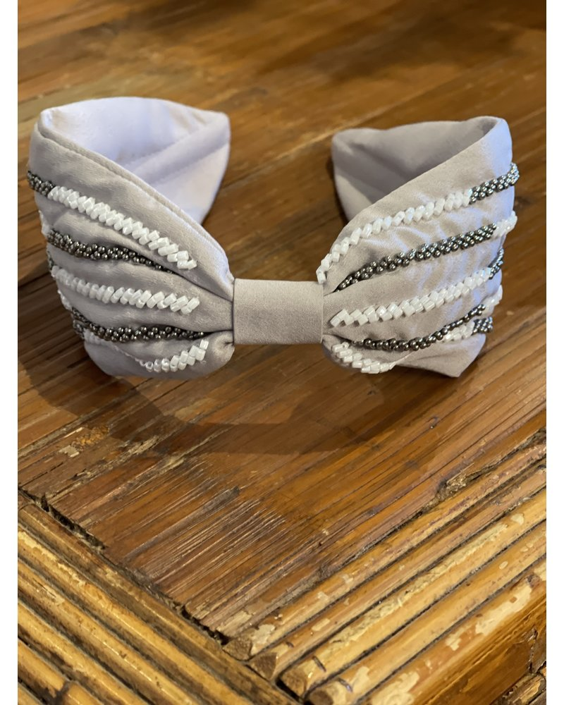 Gray Beaded Lines Headband