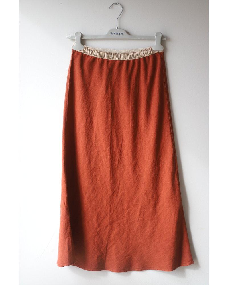 Linen Skirt- Rust
