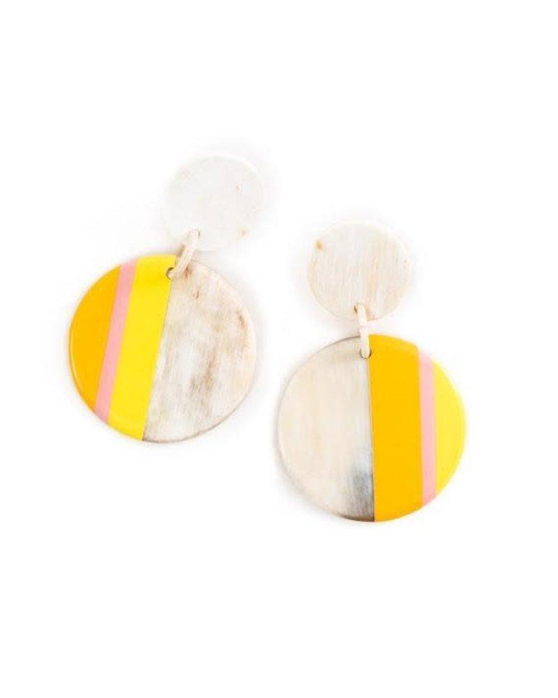 Banana Yellow Circle Stripe Earrings