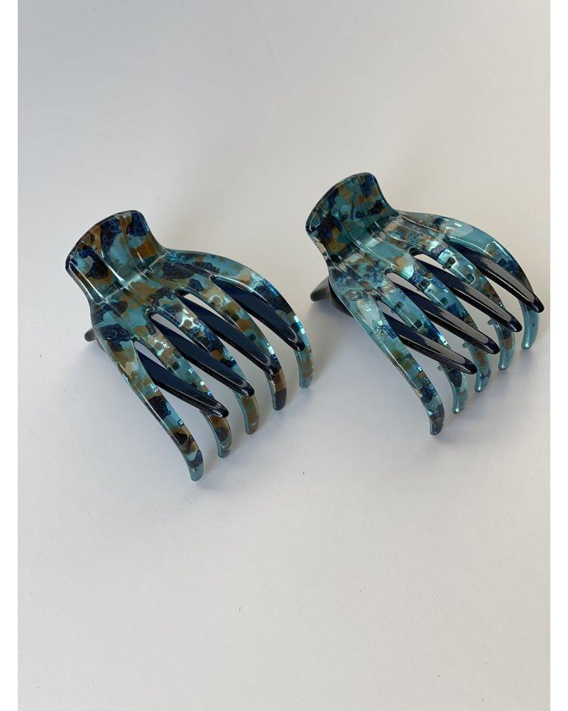 Fine Hair French Yoga Clip- Aquamarine- Each