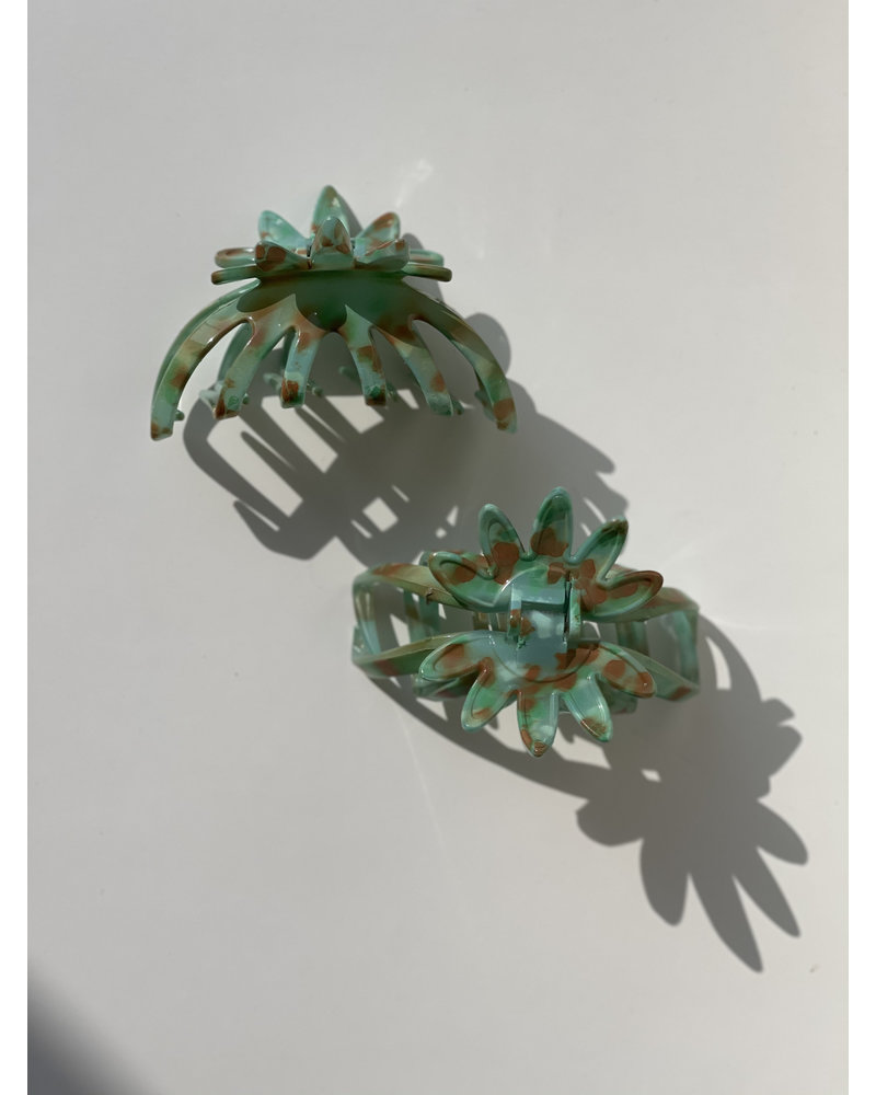French Flower Jaw- Turquoise + Orange- Each