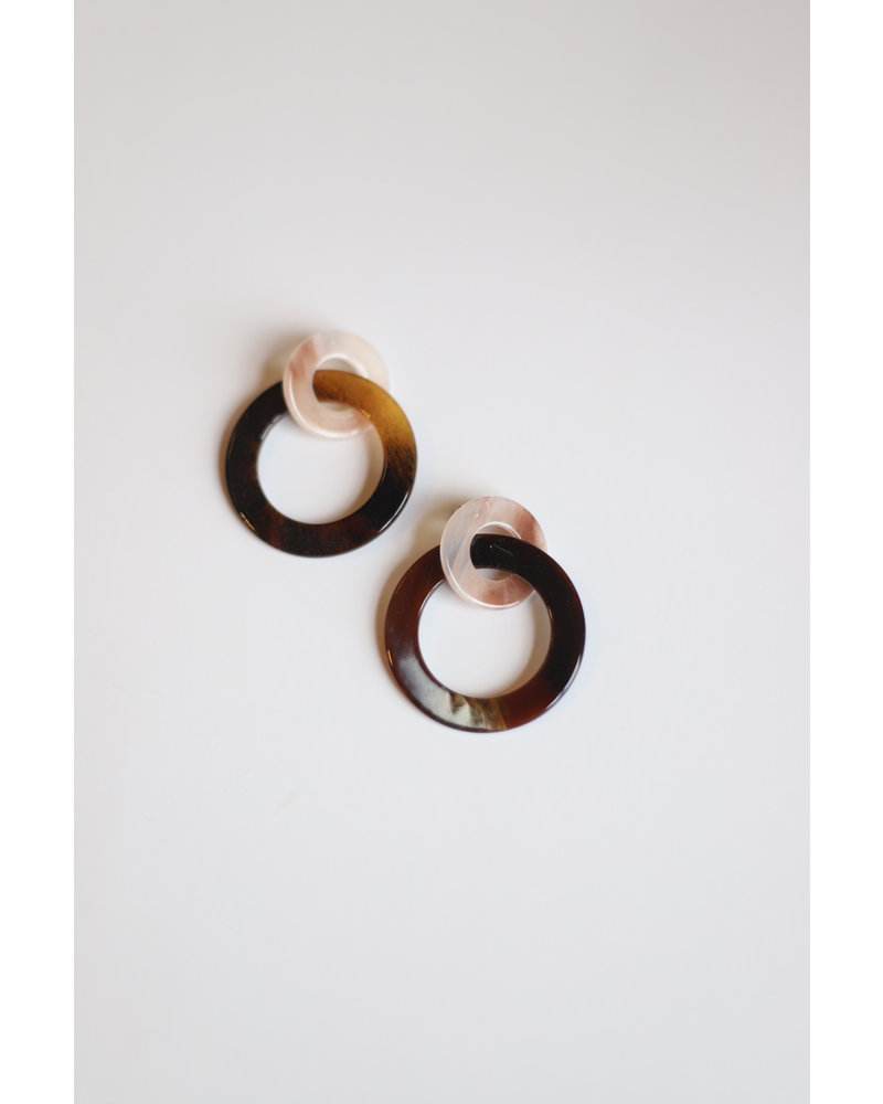 Circle Link Earrings- Pink