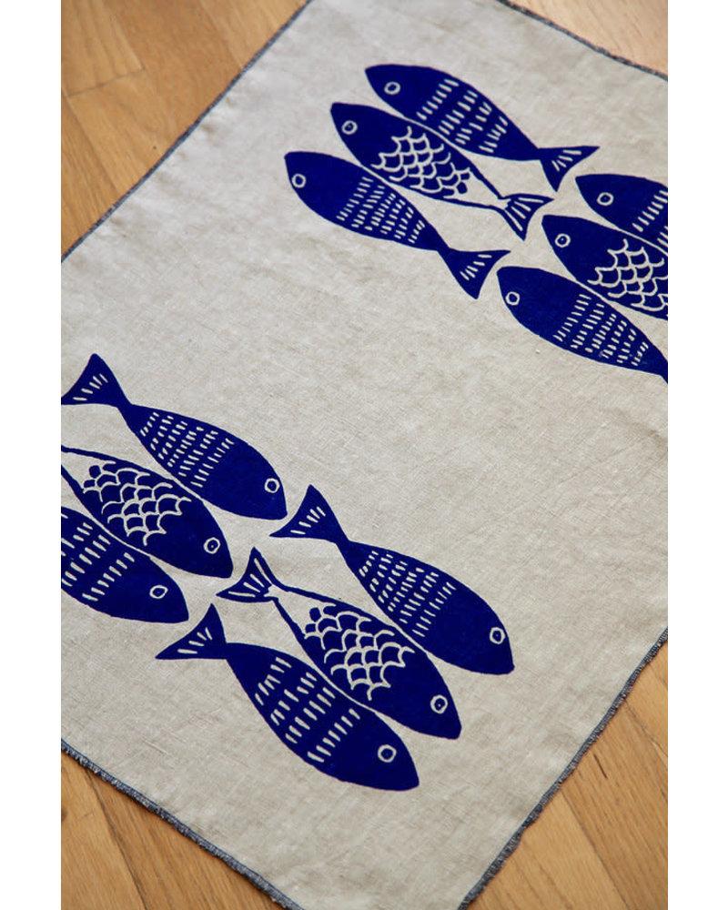 Linen tea towel sardines
