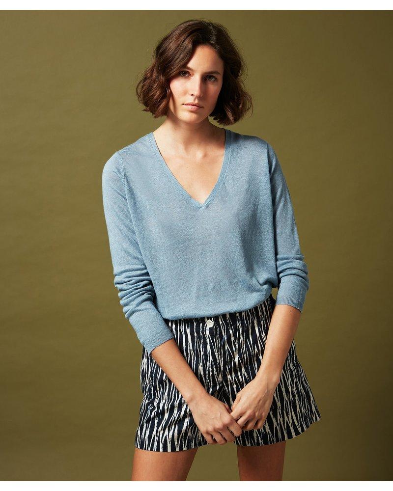Blue Light Linen Pullover Sweater