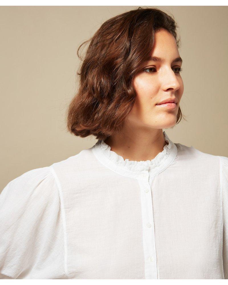 Double Fabric Tanju Ruffle Top- White