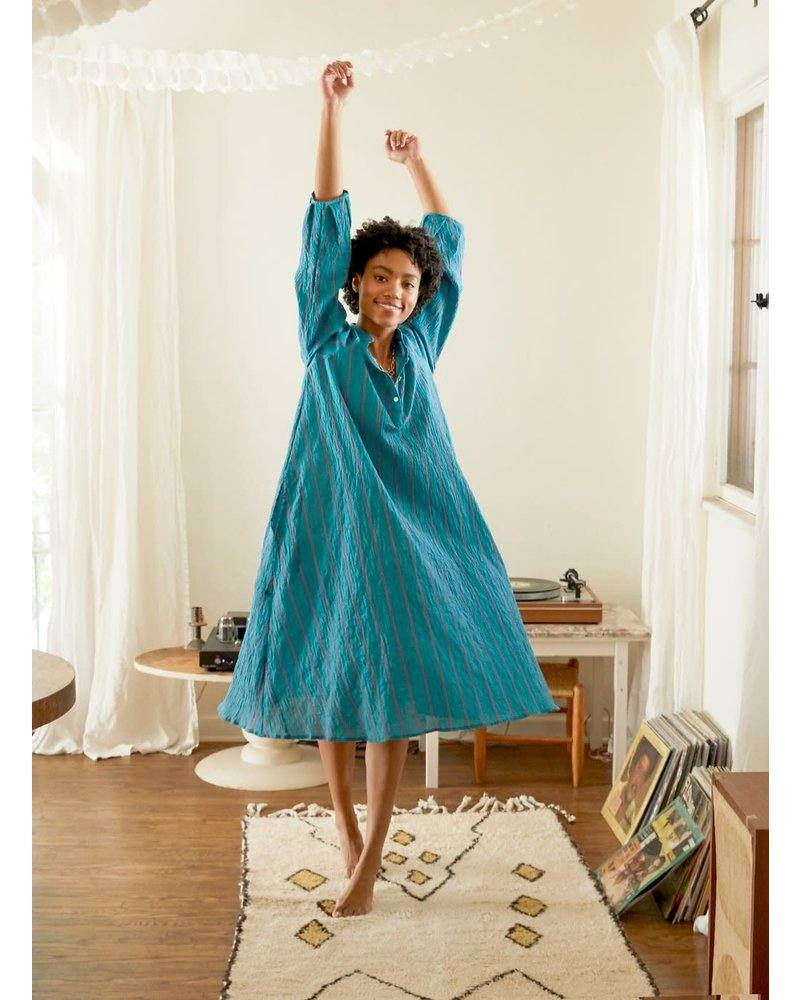 Atlin Dress- Turquoise with Pink