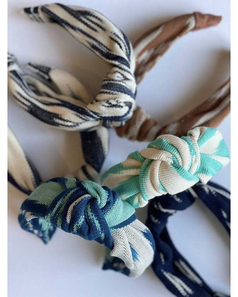 Loomed Headband  Ikat- Teal, Royal Blue & White