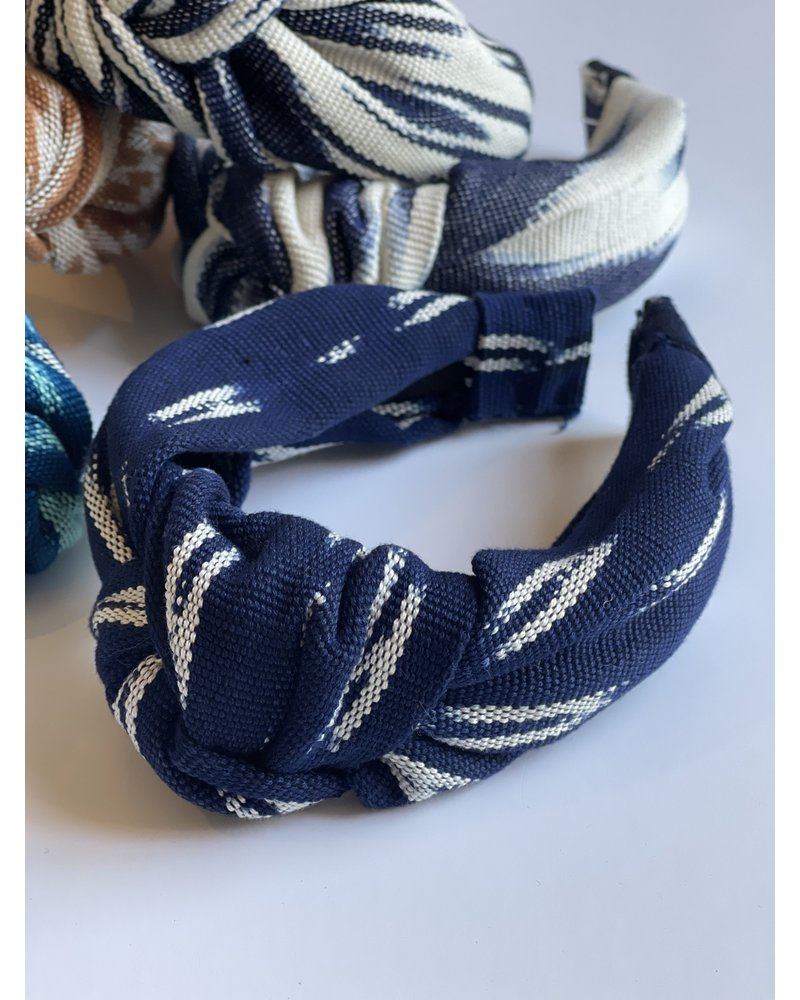 Loomed Headband  Stitch- Navy & White
