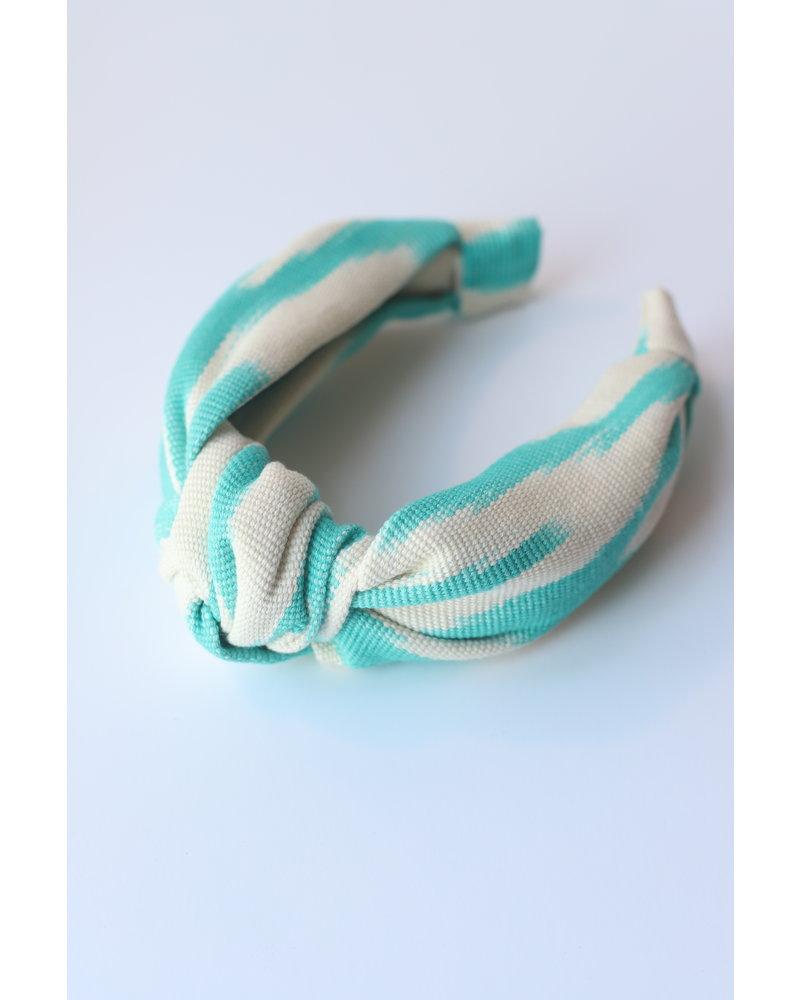 Loomed Headband  Ikat- Teal