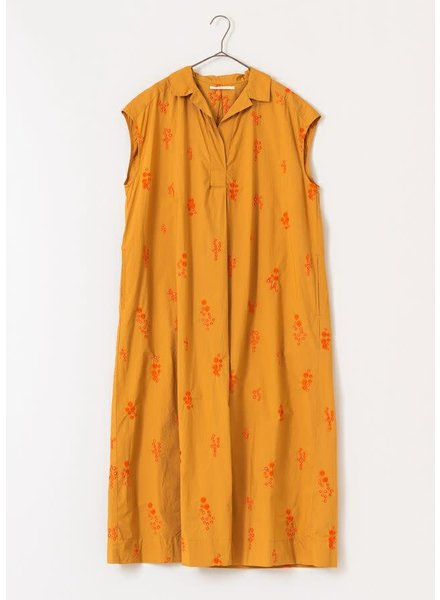 Camel Flower Embroidered Dress- One Size