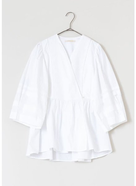 Poplin Crossover Top- White- One Size