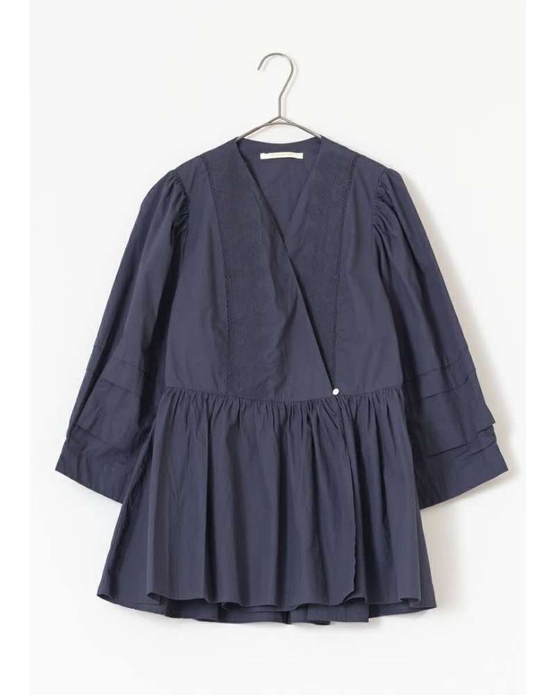 Poplin Crossover Top- Navy- One Size